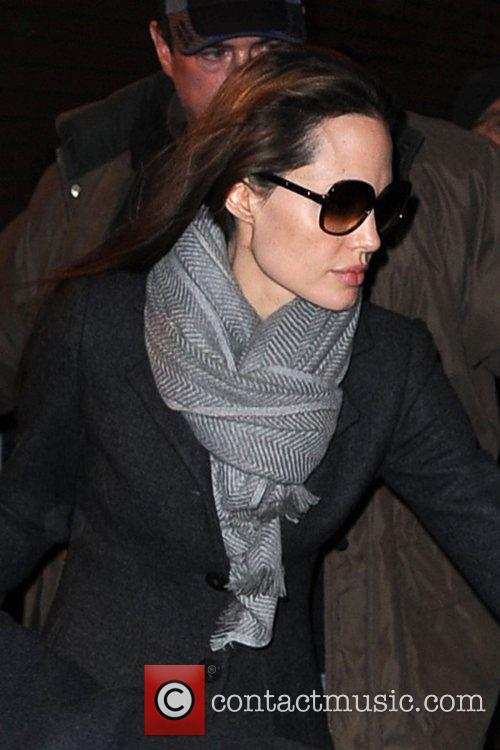 Angelina Jolie leaving the Broadway showing of 'Mary...