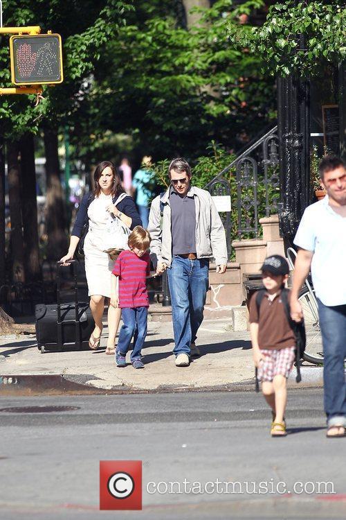 Matthew Broderick walking his son, James Wilkie Broderick...