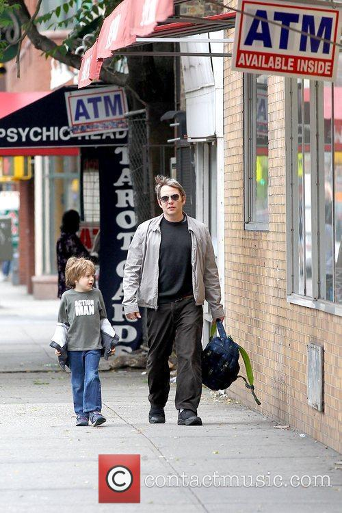 Matthew Broderick walking his son to school