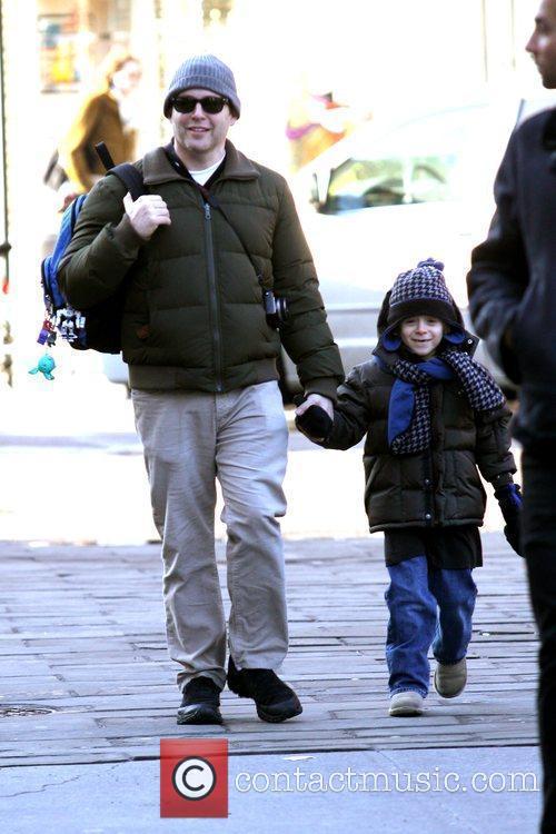 Matthew Broderick walks his son, James Wilkie, to...