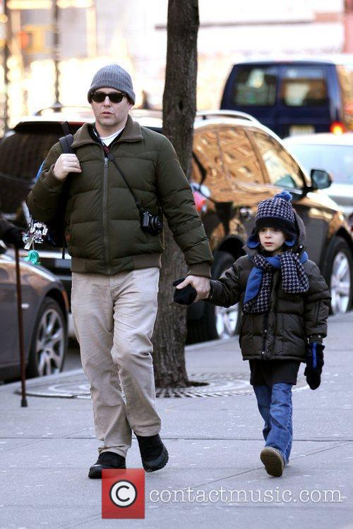 Matthew Broderick walks his son, James Wilkie, to...