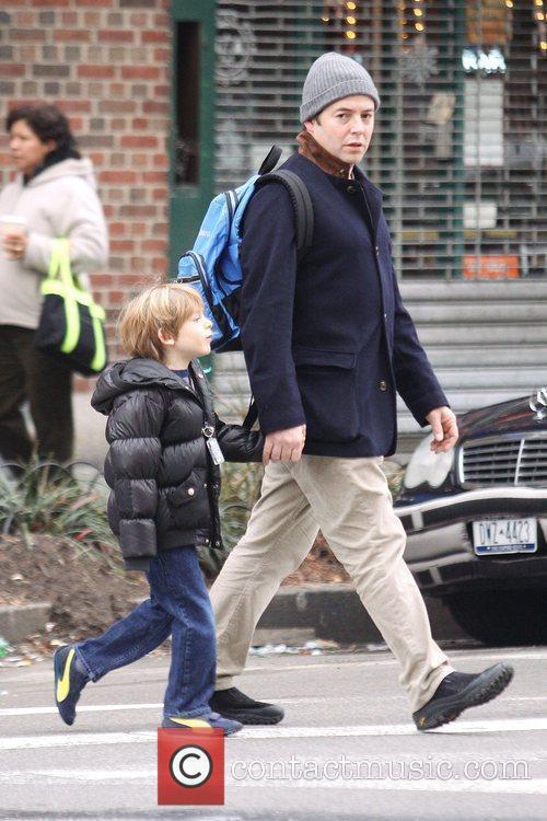 Matthew Broderick walks his 7-year-old son, James Wilkie,...