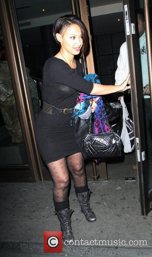 Amelle Berrabah leaving the May Fair Hotel