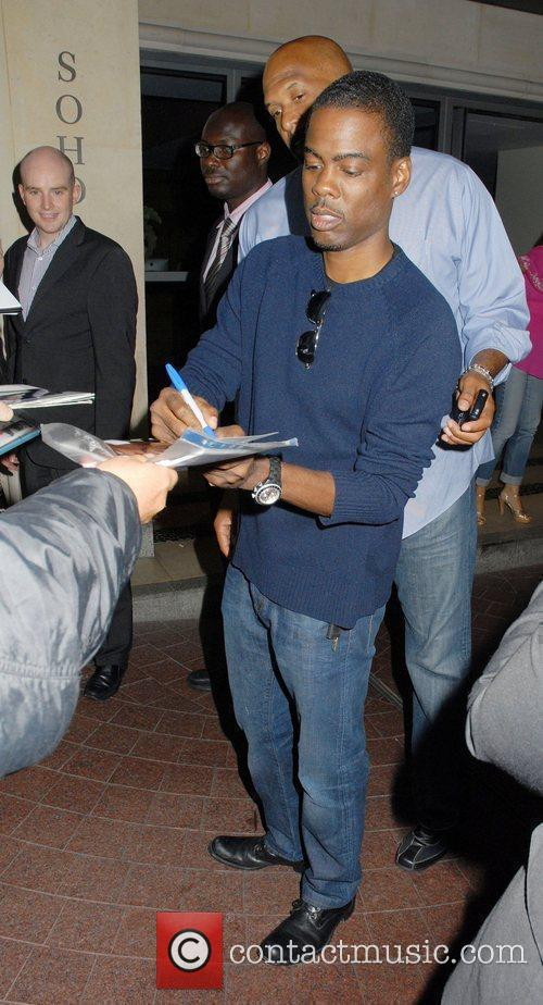 Chris Rock outside his Hotel in London