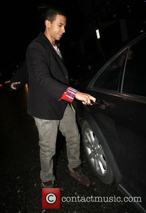 Marvin Humes leaves the May Fair hotel London,...