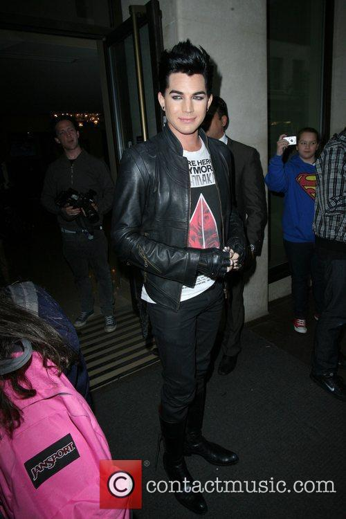 Adam Lambert seen leaving Mayfair Hotel surrounded by...
