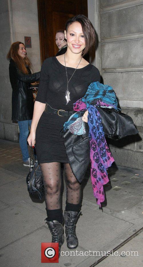 Amelle Berrabah leaving the Mayfair Hotel