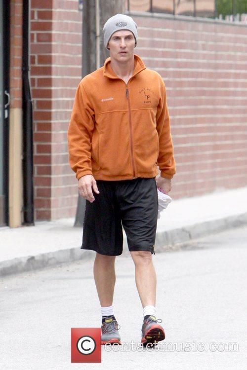 Matthew McConaughey leaving a gym in Studio City...