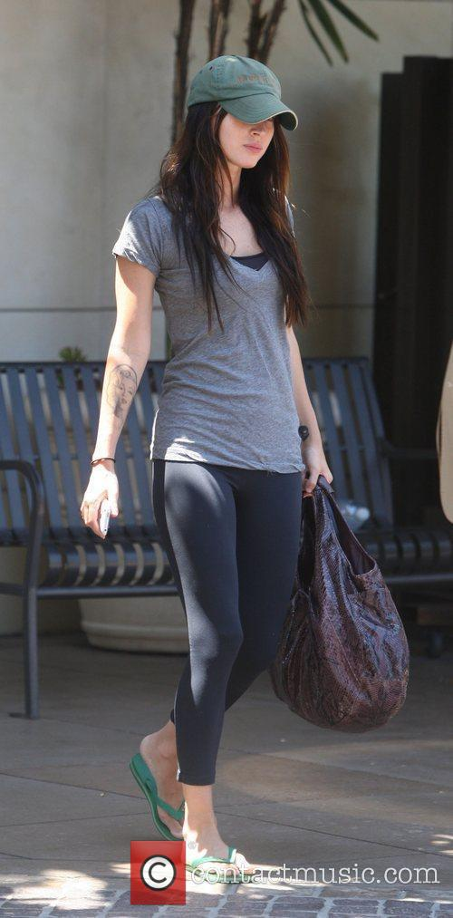 Megan Fox leaving the Cheesecake Factory at the...