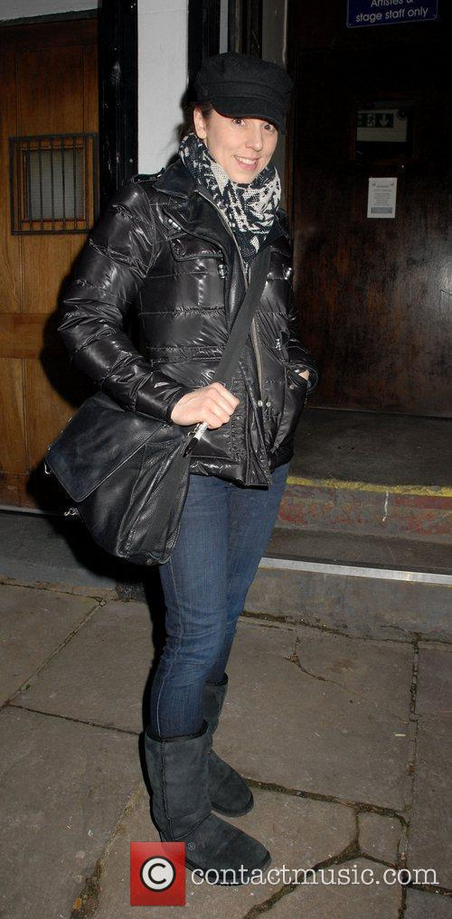 Departs the Phoenix Theatre after performing in 'Blood...