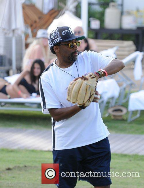 Spike Lee sighting playing ball with his son...