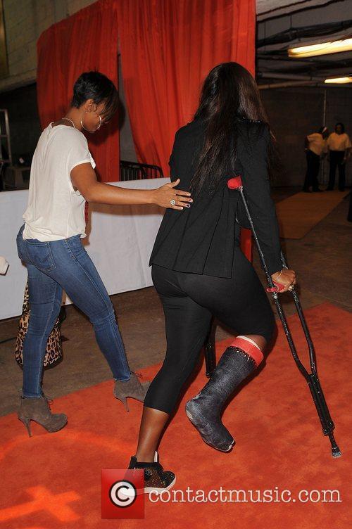 Venus Williams on crutches the Miami Dolphins Celebrity...