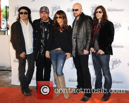 L-R Tony Cantania,Jason Bonham,Robin Antin,James Dylan and Michael...