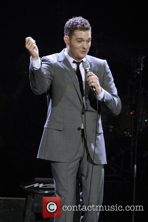 Michael Buble  performs on stage at the...