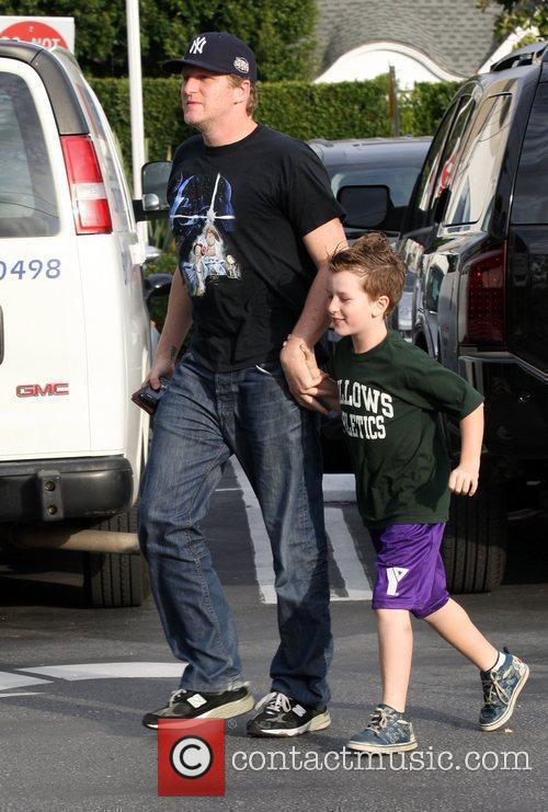 Shopping at 'Fred Segal' with his son.