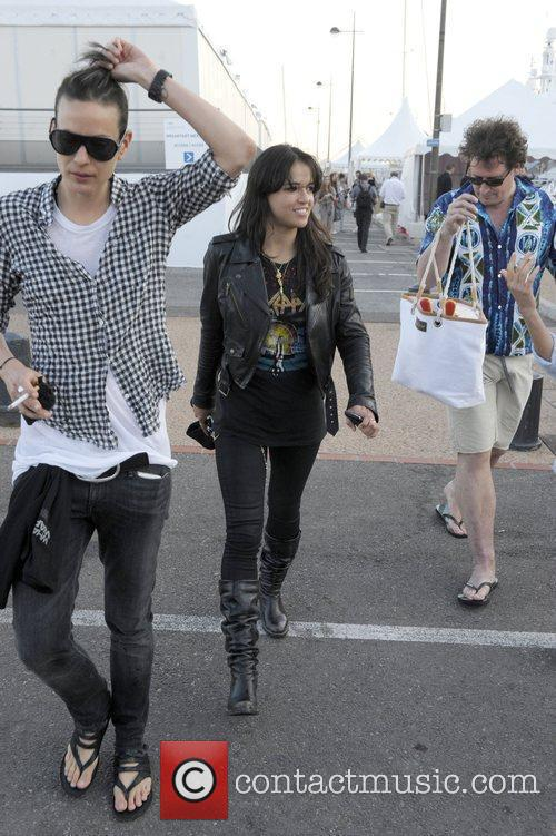 Michelle Rodriguez is seen walking at the harbor...