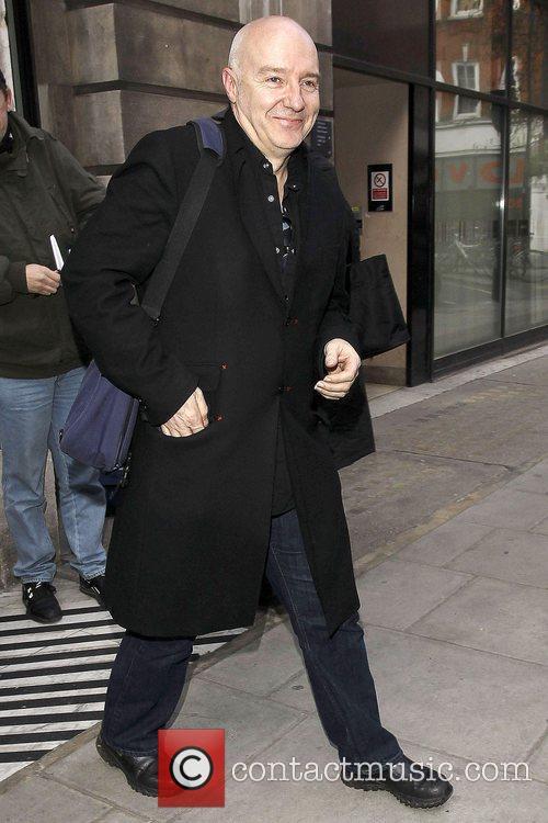 Midge Ure leaving Radio 2 studios.