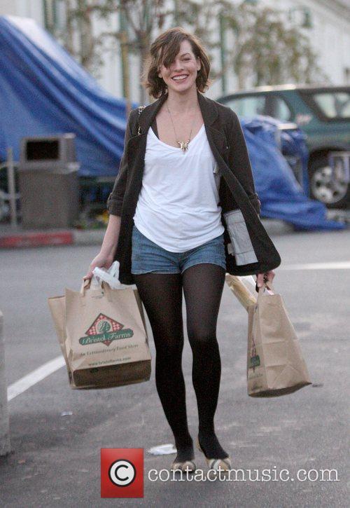 Milla Jovovich shopping at Bristol Farms in Hollywood...