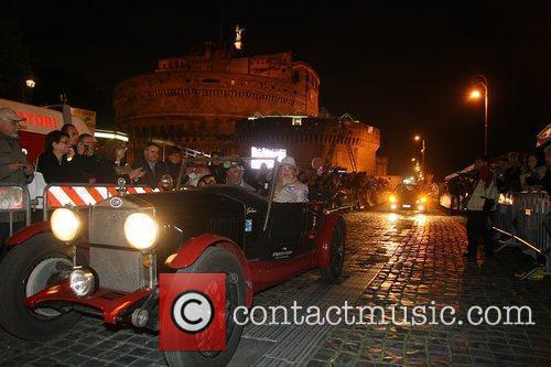 Competitors on the Mille Miglia arriving in Rome...