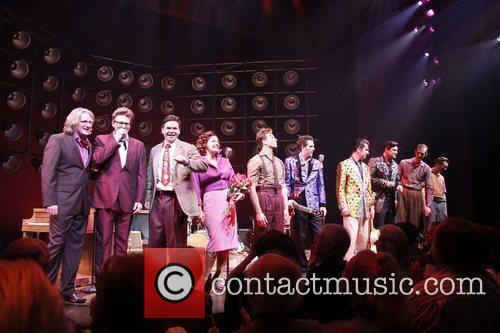 Eric Schaeffer, Floyd Mutrux, Hunter Foster, Elizabeth Stanley, Levi Kreis, Robert Britton Lyons, Eddie Clendening, Lance Guest, Corey Kaiser and Larry Lelli On Stage During Their Opening Night Curtain Call For The Broadway Musical 'million Dollar Quartet' At The Nederlander Theatre
