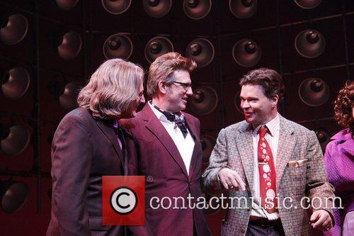 Eric Schaeffer, Floyd Mutrux and Hunter Foster On Stage During Their Opening Night Curtain Call For The Broadway Musical 'million Dollar Quartet' At The Nederlander Theatre
