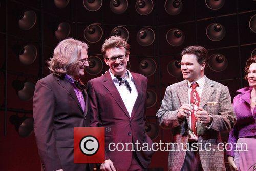 Eric Schaeffer, Floyd Mutrux, Hunter Foster and Elizabeth Stanley On Stage During Their Opening Night Curtain Call For The Broadway Musical 'million Dollar Quartet' At The Nederlander Theatre