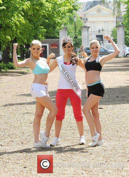 Reigning Miss England, Katrina Hodge (centre) with Miss...