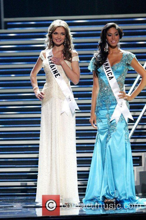 Miss Ukraine Anna Poslavska and Miss Jamaica Yendi...