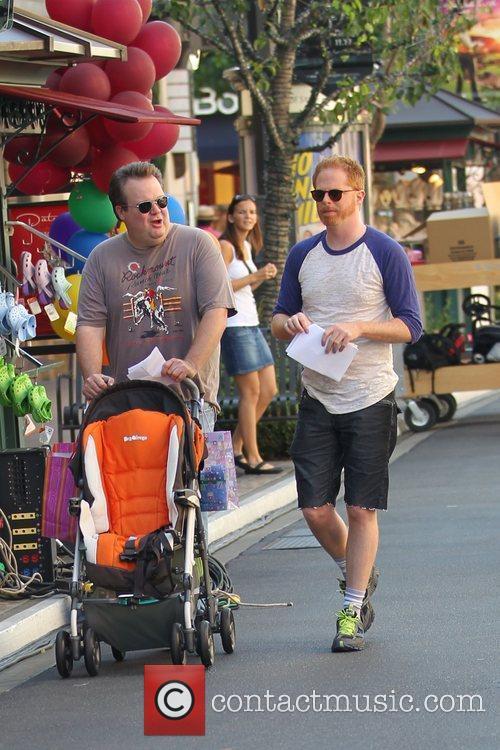 Eric Stonestreet and Jesse Tyler Ferguson filming ABC's...
