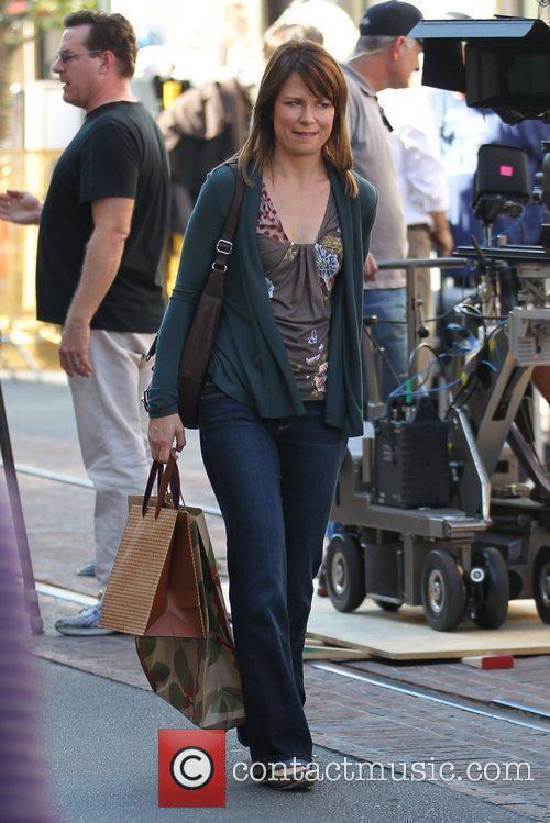 Mary Lynn Rajskub filming ABC's 'Modern Family' on...