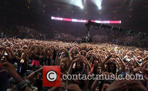 Fans during Justin Bieber's 'My World Tour' show...