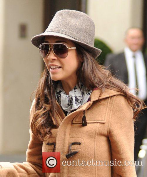 Myleene Klass leaving a hotel after a photoshoot...