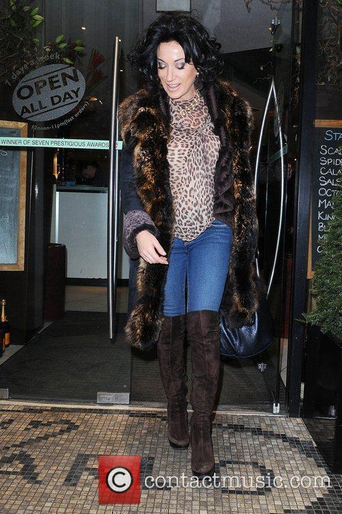 Nancy Dell'olio leaving San Carlo restaurant Manchester, England