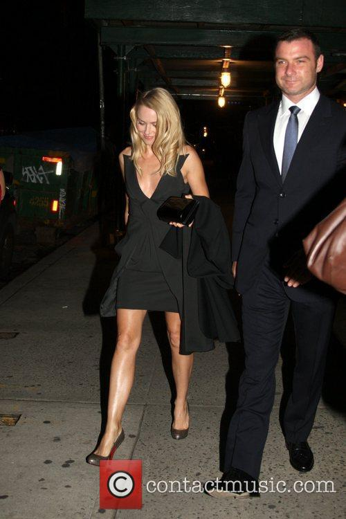 Naomi Watts and Liev Schreiber leaving their apartment...