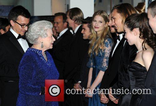 Queen Elizabeth ll meets Laura Brent, William Moseley...