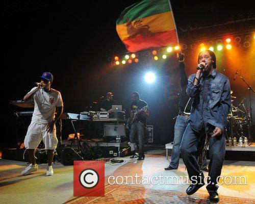 Rapper Nas and Damian Marley  performing during...