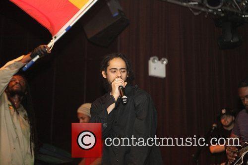 Damian Marley Nas and Damian Marley performing at...