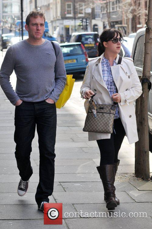 Natalie Cassidy leaving her home with her boyfriend...
