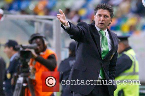 Carlos Brito, Rio Ave coach, gestures into the...