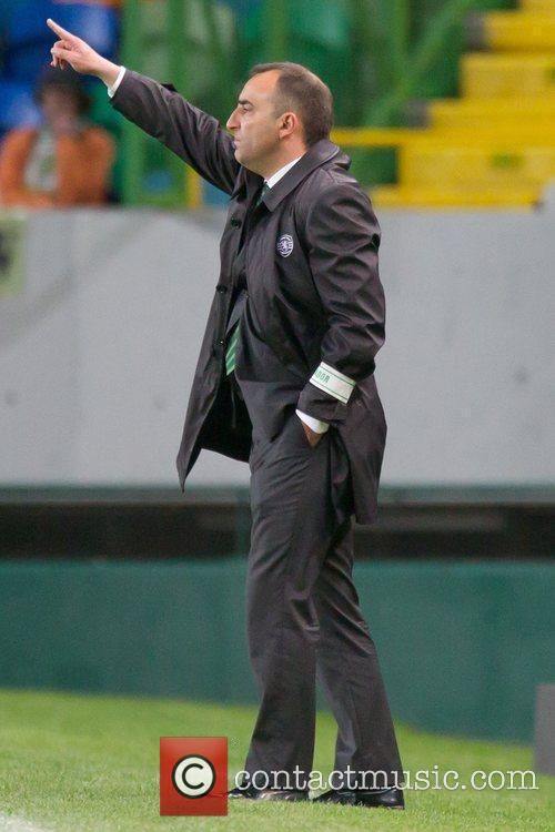 Carlos Carvalhal, Sporting's coach gestures into the field...