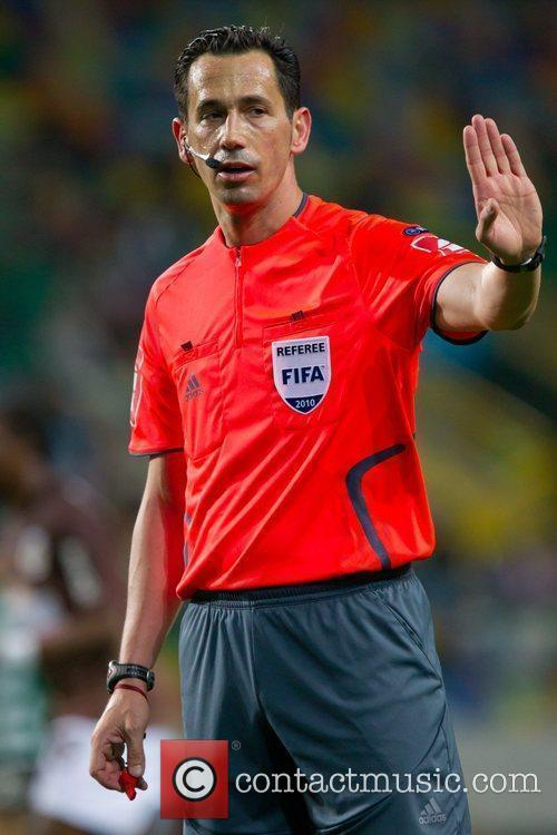 Pedro Proenca, referee, during the football match between...