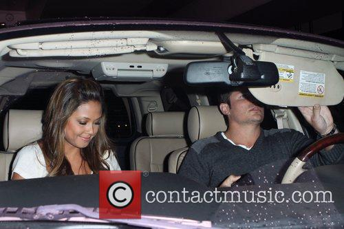 Vanessa Minnillo and Nick Lachey  depart LAX...
