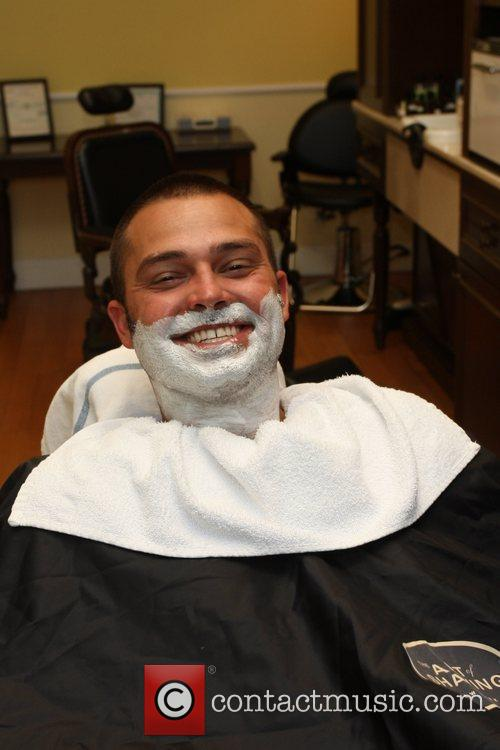New York Yankees outfielder getting his beard shaved...