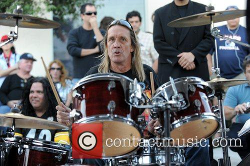 Nicko McBrain of Iron Maiden  performs outside...