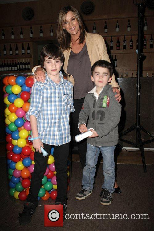 Kylie Gillies with her sons Gus and Archie...