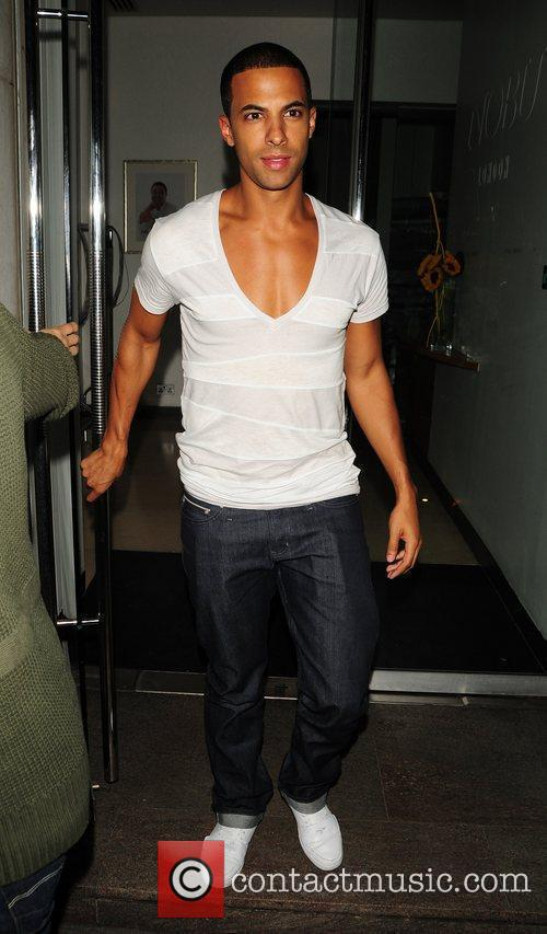 Marvin Humes of JLS leaving Nobu restaurant
