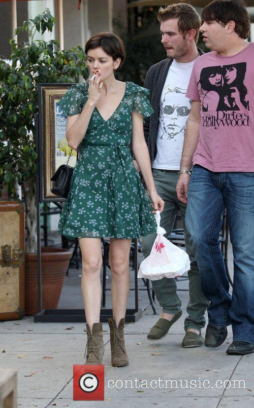 Nora Zehetner smoking a cigarette after having lunch...