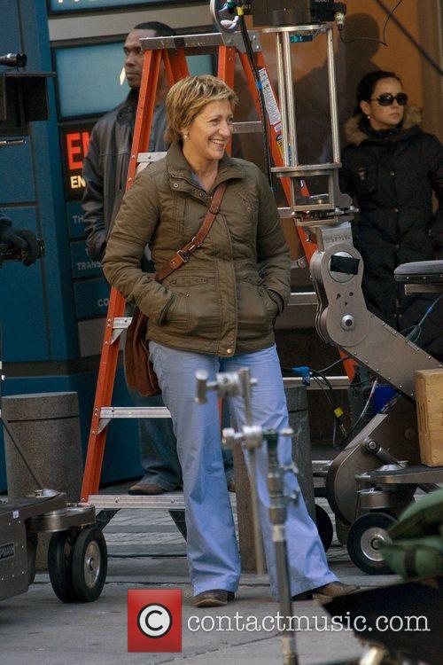 Edie Falco Filming on the set of...