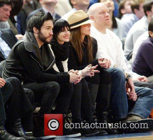 Pete Wentz and Ashley Simpson attend the game...