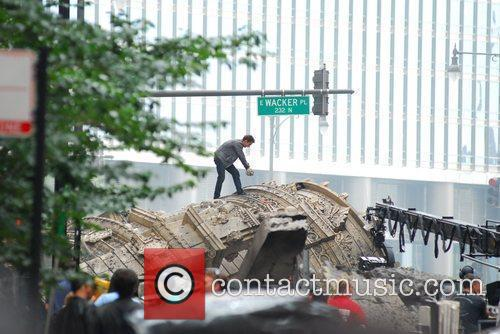Shia LeBeouf filming a scene in downtown Chicago...